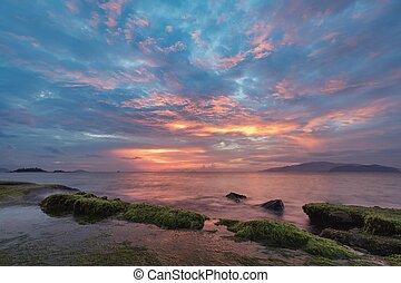 Nha Trang Bay Sunrise Sky - A view of Nha Trang bay just...