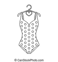 Blue and white swimsuit for competitive swimming. Swimsuit with checkered pattern.Swimcuits single icon in black\\\ style bitmap,raster symbol stock illustration.