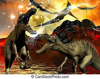 世界末日, 恐龍,  3D,  rendering