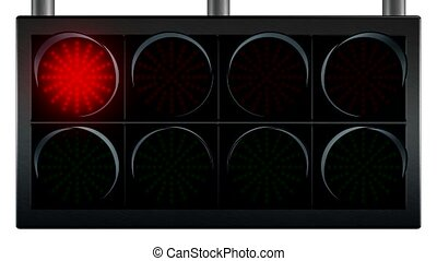 traffic lights for racing - Group of red and green racing...
