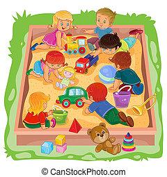 很少, 坐, 女孩, 玩, 男孩, 玩具,  Sandbox, 他們