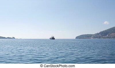 Yacht in the sea, aerial photography drone, Budva, near...
