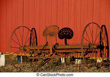 Horse Drawn Dump Rake - An antique rusty Horse Drawn Dump...