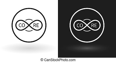 Creative core icon using the sign of infinity in white and...