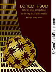 Dark red background with golden grid and sphere in op-art style, blank space for own text, 3d illusion