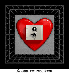 heart symbol is locked in a cage