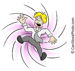 business man being caught by a swirl - vector illustration...