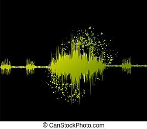 digital sound wave and grungy background.
