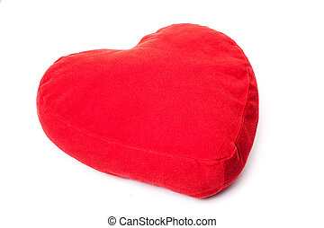 Red heart shaped pillow