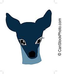 roe deer - silhouette of young roe deer
