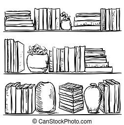 Bücherregal gezeichnet  Vektoren Illustration von inneneinrichtung, gezeichnet, hand ...