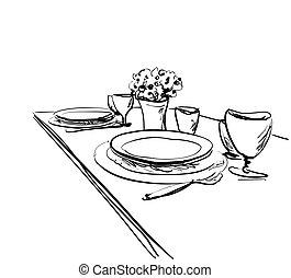 Table setting set. Weekend breakfast or dinner. - Table...