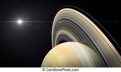 Saturn Approach - The camera is slowly approaching Saturn...
