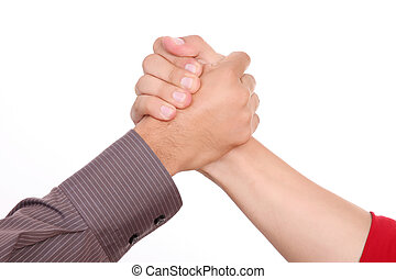 Solidarity - Man shaking hands on a white background