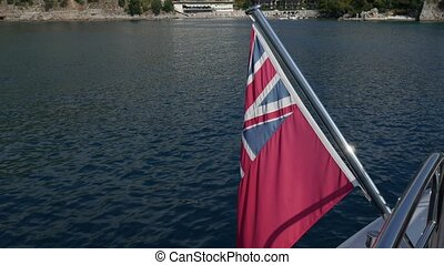 The British Red Ensign. On a yacht in the Adriatic Sea, near...