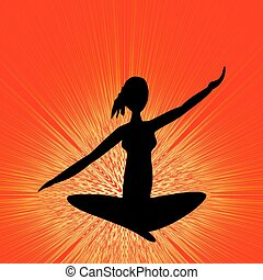 Yoga training banner with black girl silhouette in lotus position on orange background with rays