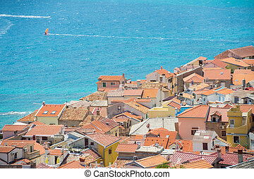 Baska, Krk, Croatia, Europe. - Panoramic view of Baska town,...