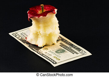 Value, Eaten Away - Eaten away, remaining core of apple...