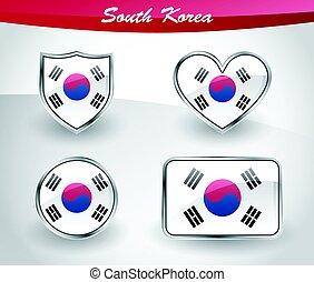 Glossy South Korea flag icon set
