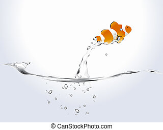 Clown Fish - clown fish jumping free with water splash and...