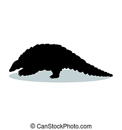 Armadillo mammal black silhouette animal. Vector...
