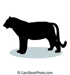 Tiger wildcat black silhouette animal