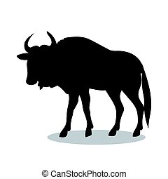 Wildebeest antelope mammal black silhouette animal. Vector...