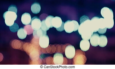 Colorful, blurred, bokeh lights background in cold tones....