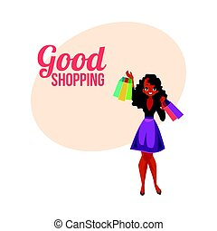 Happy shopping poster, banner with black girl, woman holding bags