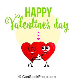 Valentine day greeting card design with two hugging heart...