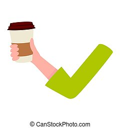Woman arm, hand holding coffee cup, breakfast, morning...