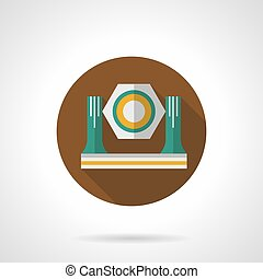 Stage spotlight flat round vector icon - Symbol of stage...