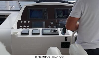 Booster boats and dashboard. A modern boat. Expensive yacht. The