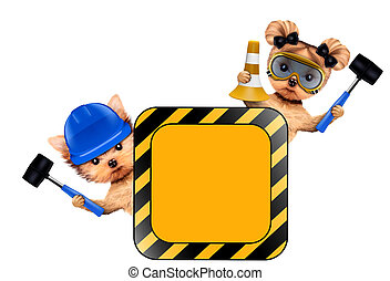 Funny couple of puppies with tools holding construction...