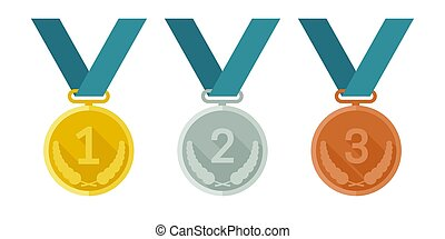 Medals from gold, silver and bronze - Prize medals with...