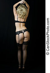 The Striptease Series - Seductive Blonde in lingerie,...