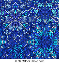 Blue Flower Pattern Boho Background - Blue Flower Pattern....