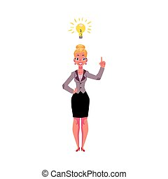 Businesswoman having idea, light bulb as symbol of business insight