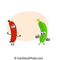 Funny food characters, zuccini versus sausage, healthy lifestyle concept