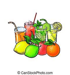 Orange, grapefruit, lime, lemon juice and whole fruits -...