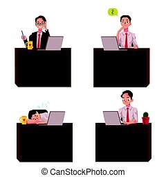 Young businessman sitting at office desk, working on laptop