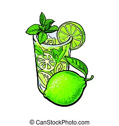 Whole lime and glass of juice, mojito, cocktail with ice