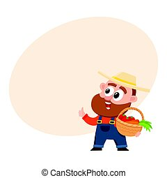 Funny farmer, gardener character in overalls holding basket with vegetables