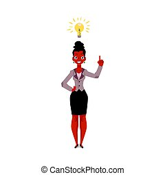 Black, African American businesswoman having idea, inspiring thought, business insight