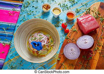 Fish ceviche preuvian recipe and pansy flower - Fish ceviche...