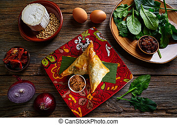 Moroccan Spinach and cheese Briouat - Spinach and cheese...