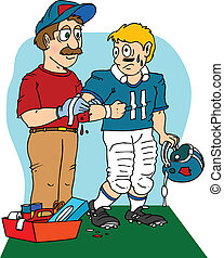 sports injury - a team doctor bandaging a football player