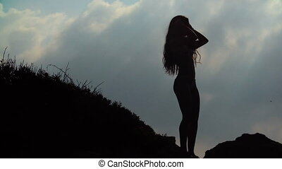 silhouette of young woman with long hair on sky background -...