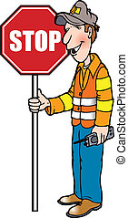road guy - man holding a stop sign
