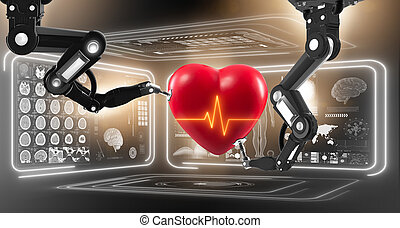 Robot performing surgery on heart